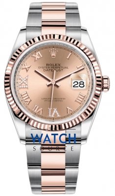 Rolex Datejust 36mm Stainless Steel and Rose Gold 126231 Rose VI IX Roman Oyster watch
