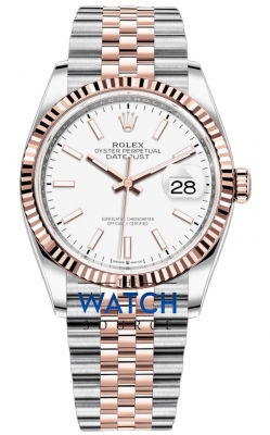 Rolex Datejust 36mm Stainless Steel and Rose Gold 126231 White Index Jubilee watch