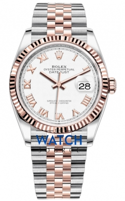 Rolex Datejust 36mm Stainless Steel and Rose Gold 126231 White Roman Jubilee watch
