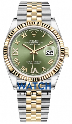 Rolex Datejust 36mm Stainless Steel and Yellow Gold 126233 Olive Green VI IX Roman Jubilee watch
