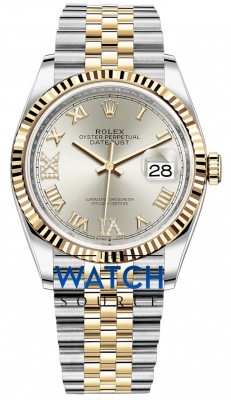 Rolex Datejust 36mm Stainless Steel and Yellow Gold 126233 Silver VI IX Roman Jubilee watch