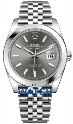 Buy this new Rolex Datejust 41mm Stainless Steel 126300 Dark Rhodium Index Jubilee mens watch for the discount price of £8,150.00. UK Retailer.