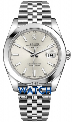 Rolex Datejust 41mm Stainless Steel 126300 Silver Index Jubilee watch