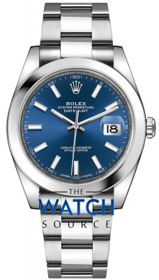 Rolex Datejust 41mm Stainless Steel 126300 Blue Index Oyster watch