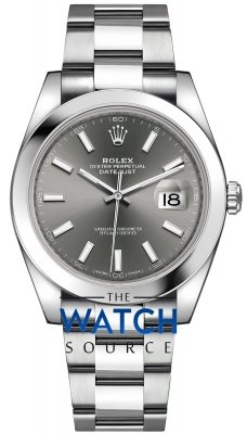 Buy this new Rolex Datejust 41mm Stainless Steel 126300 Dark Rhodium Index Oyster mens watch for the discount price of £8,150.00. UK Retailer.
