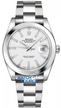 Buy this new Rolex Datejust 41mm Stainless Steel 126300 White Index Oyster mens watch for the discount price of £8,150.00. UK Retailer.
