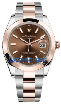 Rolex Datejust 41mm Steel and Everose Gold 126301 Chocolate Index Oyster watch