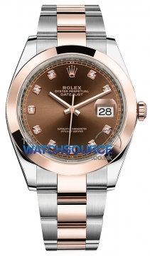 Rolex Datejust 41mm Steel and Everose Gold 126301 Chocolate Diamond Oyster watch