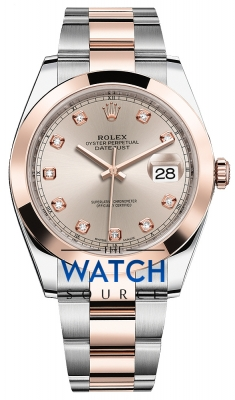 Rolex Datejust 41mm Steel and Everose Gold 126301 Sundust Diamond Oyster watch