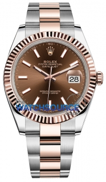 Rolex Datejust 41mm Steel and Everose Gold 126331 Chocolate Index Oyster watch