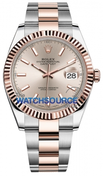 Rolex Datejust 41mm Steel and Everose Gold 126331 Sundust Index Oyster watch