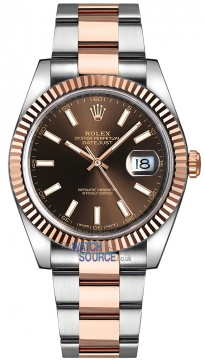 Rolex Datejust 41mm Steel and Everose Gold 126331 Chocolate Diamond Oyster watch