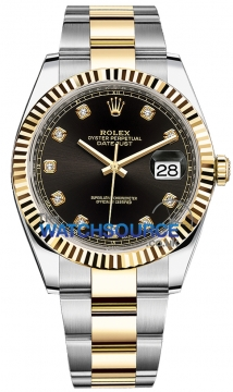 Rolex Datejust 41mm Steel and Yellow Gold 126333 Black Diamond Oyster watch