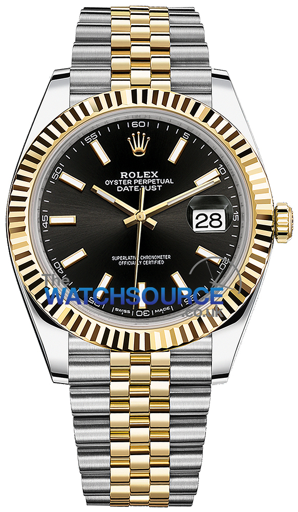 Rolex Datejust 41mm Steel and Yellow Gold 126333 Black Index Jubilee