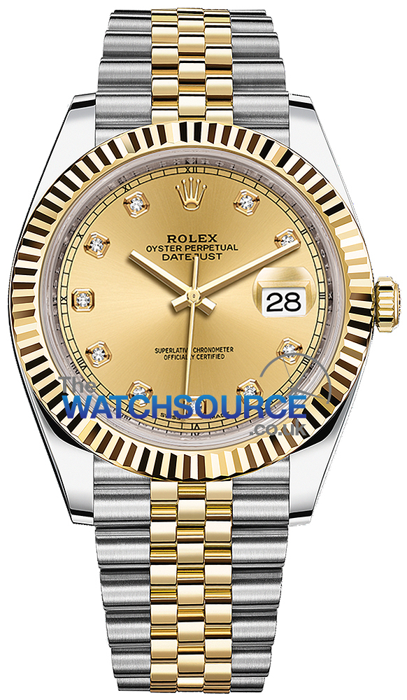 Rolex Datejust 41mm Steel and Yellow Gold 126333 Champagne Diamond Jubilee