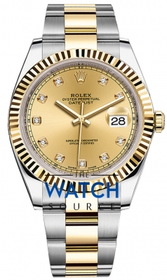 Rolex Datejust 41mm Steel and Yellow Gold 126333 Champagne Diamond Oyster watch