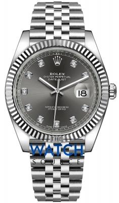 Rolex Datejust 41mm Stainless Steel 126334 Dark Rhodium Diamond Jubilee watch