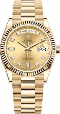 Rolex Day-Date 36mm Yellow Gold 128238 Champagne Diamond watch