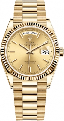 Rolex Day-Date 36mm Yellow Gold 128238 Champagne Index watch