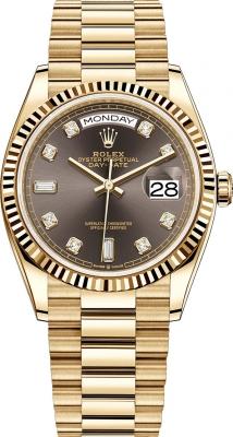 Rolex Day-Date 36mm Yellow Gold 128238 Dark Grey Diamond watch