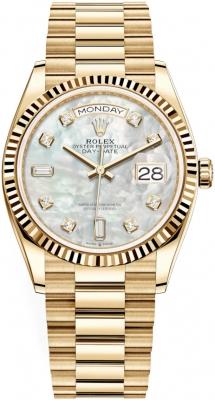 Rolex Day-Date 36mm Yellow Gold 128238 MOP Diamond watch