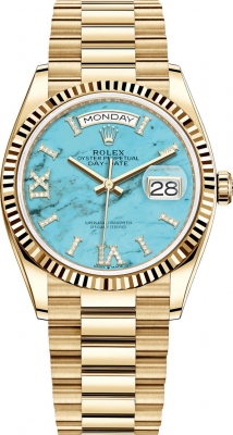 Rolex Day-Date 36mm Yellow Gold 128238 Turquoise watch