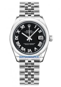 Rolex Datejust 31mm Stainless Steel 178240 Black Roman Jubilee watch