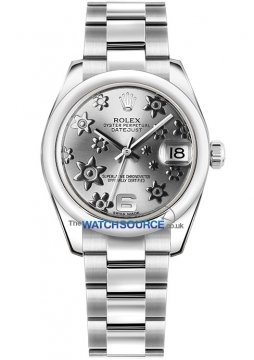 Rolex Datejust 31mm Stainless Steel 178240 Rhodium Floral Oyster watch