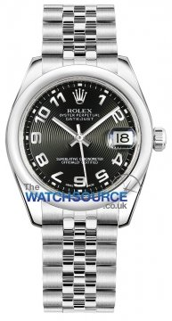 Rolex Datejust 31mm Stainless Steel 178240 Black Concentric Arabic Jubilee watch
