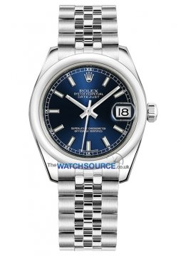 Rolex Datejust 31mm Stainless Steel 178240 Blue Index Jubilee watch