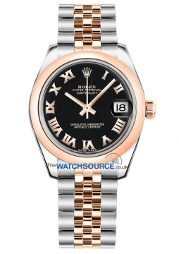 Rolex Datejust 31mm Stainless Steel and Rose Gold 178241 Black Roman Jubilee watch