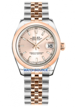 Rolex Datejust 31mm Stainless Steel and Rose Gold 178241 Pink Index Jubilee watch