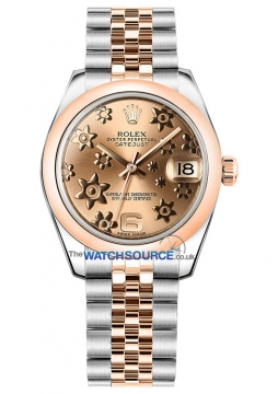 Rolex Datejust 31mm Stainless Steel and Rose Gold 178241 Pink Floral Jubilee watch