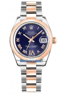 Rolex Datejust 31mm Stainless Steel and Rose Gold 178241 Purple VI Roman Oyster watch