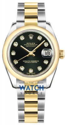 Rolex Datejust 31mm Stainless Steel and Yellow Gold 178243 Black Diamond Oyster watch