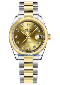 Rolex Datejust 31mm Stainless Steel and Yellow Gold 178243 Champagne Diamond Oyster watch