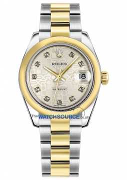 Rolex Datejust 31mm Stainless Steel and Yellow Gold 178243 Jubilee Silver Diamond Oyster watch