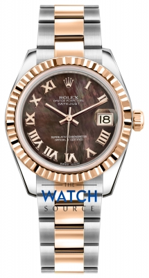 Rolex Datejust 31mm Stainless Steel and Rose Gold 178271 Black MOP Roman Oyster watch