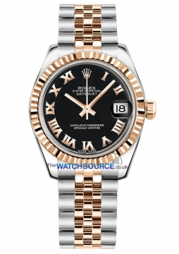 Rolex Datejust 31mm Stainless Steel and Rose Gold 178271 Black Roman Jubilee watch