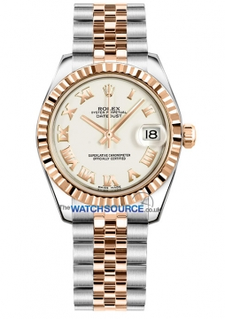 Rolex Datejust 31mm Stainless Steel and Rose Gold 178271 White Roman Jubilee watch
