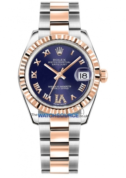 Rolex Datejust 31mm Stainless Steel and Rose Gold 178271 Purple VI Roman Oyster watch