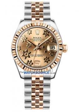 Rolex Datejust 31mm Stainless Steel and Rose Gold 178271 Pink Floral Jubilee watch