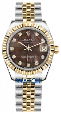 Rolex Datejust 31mm Stainless Steel and Yellow Gold 178273 Black MOP Diamond Jubilee watch