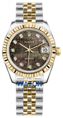 Rolex Datejust 31mm Stainless Steel and Yellow Gold 178273 Jubilee Black MOP Diamond Jubilee watch