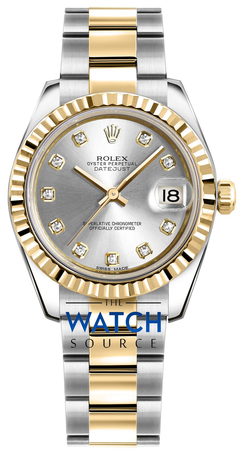 Rolex Datejust 31mm Stainless Steel and Yellow Gold 178273 Silver Diamond  Oyster