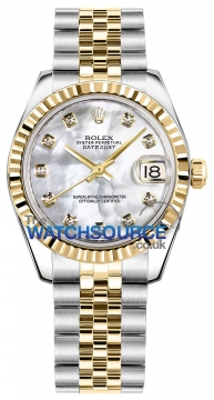 Rolex Datejust 31mm Stainless Steel and Yellow Gold 178273 White MOP Diamond Jubilee watch