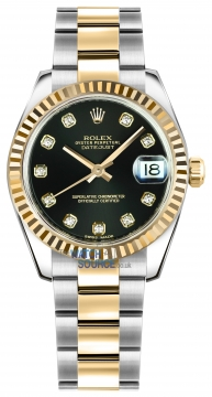 Rolex Datejust 31mm Stainless Steel and Yellow Gold 178273 Black Diamond Oyster watch