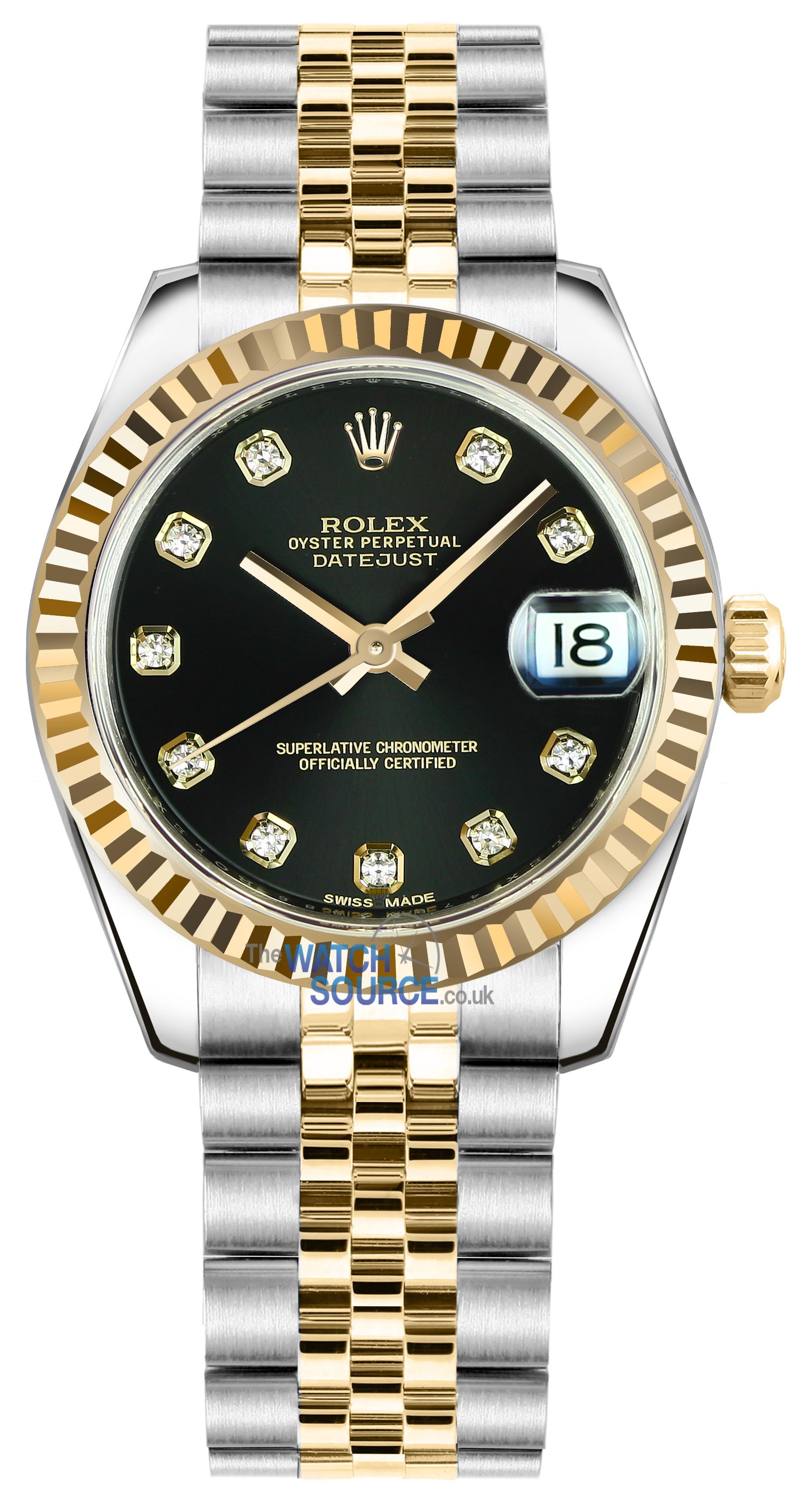 mm bkij stainless yellow rolex datejust image black dial ii watches steel and gold