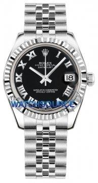 Rolex Datejust 31mm Stainless Steel 178274 Black Roman Jubilee watch