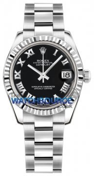 Rolex Datejust 31mm Stainless Steel 178274 Black Roman Oyster watch
